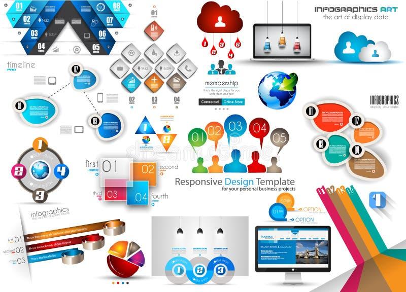 Nueva colección fresca de plantilla de Infographics stock de ilustración