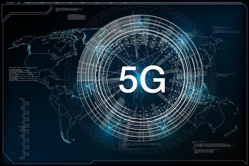 nueva conexión inalámbrica de Wi-Fi de Internet 5G Velocidad de la red global stock de ilustración