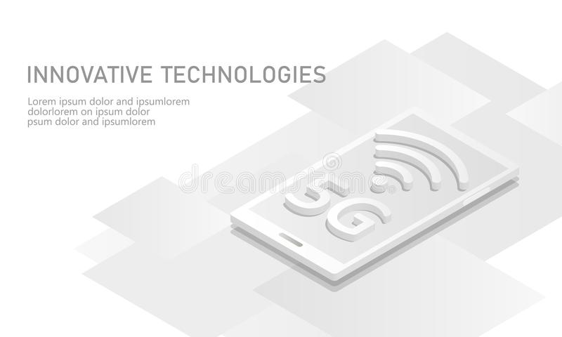 nueva conexión inalámbrica del wifi de Internet 5G Blanco isométrico 3d del dispositivo móvil de Smartphone plano Velocidad de la libre illustration