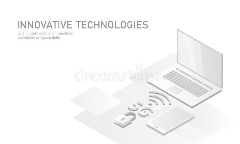 nueva conexión inalámbrica del wifi de Internet 5G El plano mate puro blanco isométrico 3d del dispositivo móvil del ordenador po libre illustration