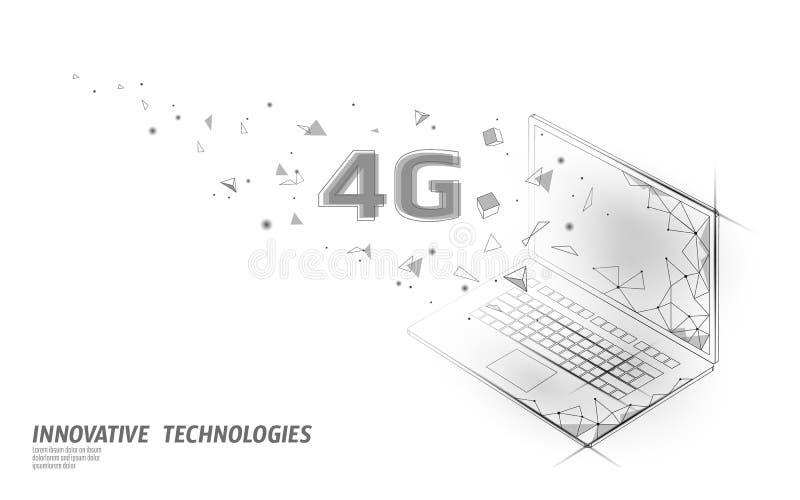 nueva conexi?n inal?mbrica del wifi de Internet 4G Plano isométrico 3d del dispositivo móvil del ordenador portátil Innovación de stock de ilustración