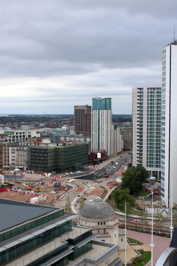 Nueva construcción Birmingham de la extensión del tranvía foto de archivo