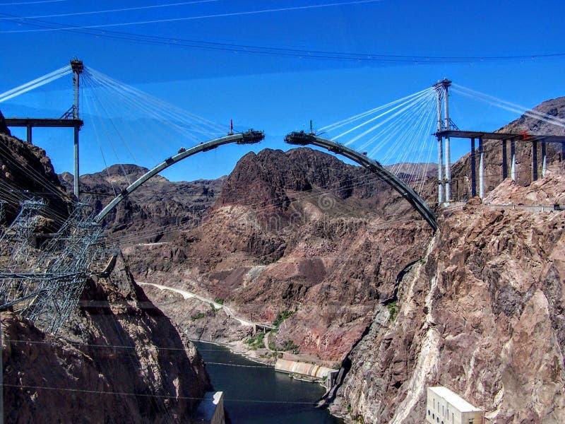 Nueva construcción de puente en la Presa Hoover fotos de archivo
