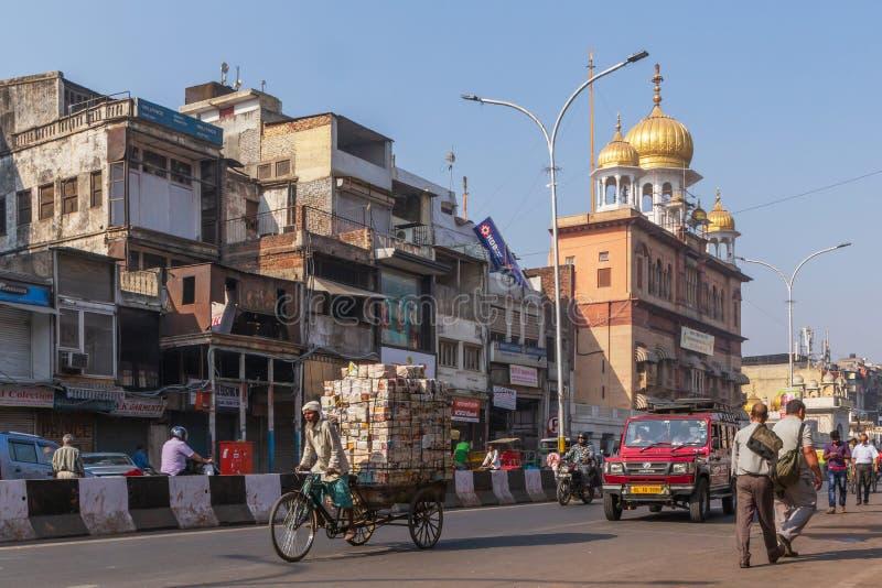NUEVA DELI, LA INDIA - 13 DE MARZO DE 2018: vista de Chandni Chowk imagen de archivo