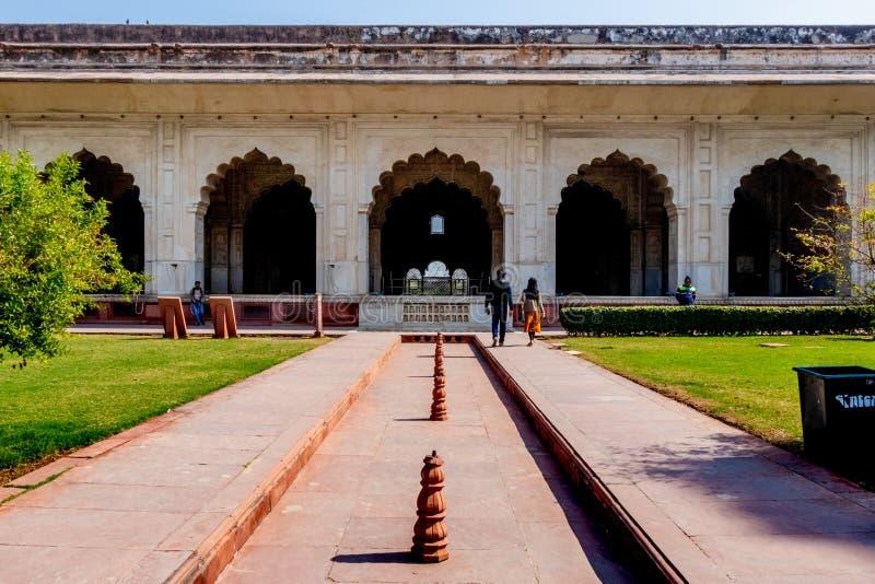Nueva Deli, la India - febrero de 2019 El complejo rojo del fuerte, una fortaleza hist?rica de Mughal localizada fotos de archivo libres de regalías