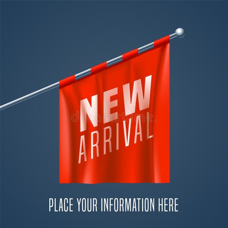 Nueva ejecución de la bandera roja del illustrationwith del vector de llegada para la venta al por menor y las tiendas stock de ilustración
