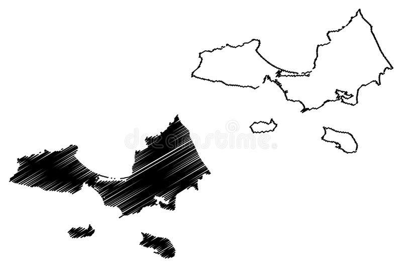 Nueva Esparta State map vector. Nueva Esparta State Bolivarian Republic of Venezuela, States, Federal Dependencies map vector illustration, scribble sketch vector illustration