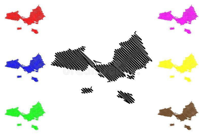 Nueva Esparta State map vector. Nueva Esparta State Bolivarian Republic of Venezuela, States, Federal Dependencies map vector illustration, scribble sketch royalty free illustration