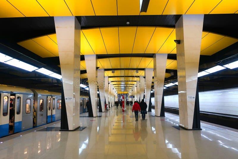 Nueva estación del metro Shelepiha de Moscú Trasplante al anillo central de Moscú foto de archivo