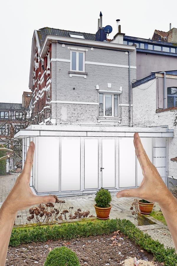 Nueva extensión moderna de una casa imagen de archivo