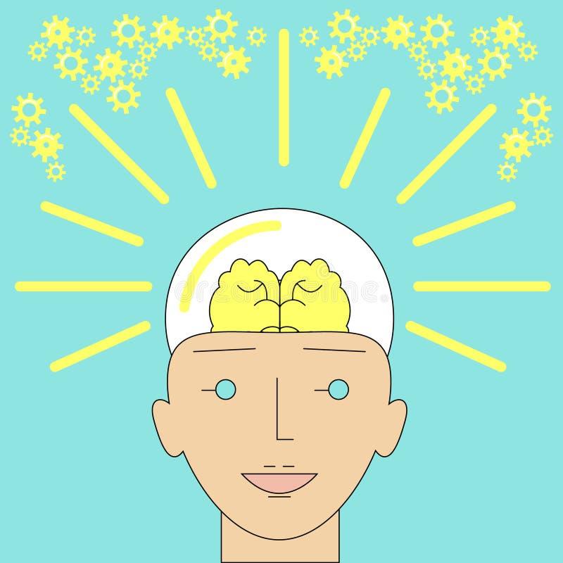 Nueva forma brillante de la idea de una cabeza humana como bombilla creativa yo ilustración del vector