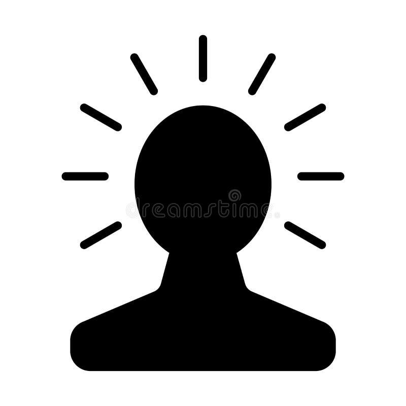 Nueva idea brillante en icono de la cabeza humana Concepto de la creatividad de la bombilla Vector libre illustration