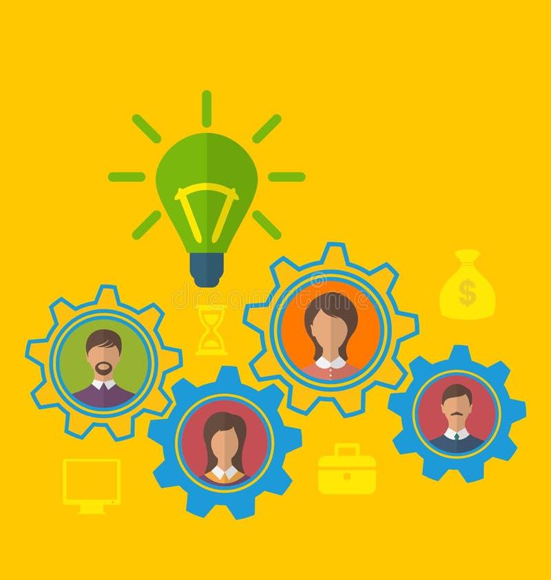 Nueva idea creativa de la aparición, concepto de trabajo en equipo eficaz stock de ilustración