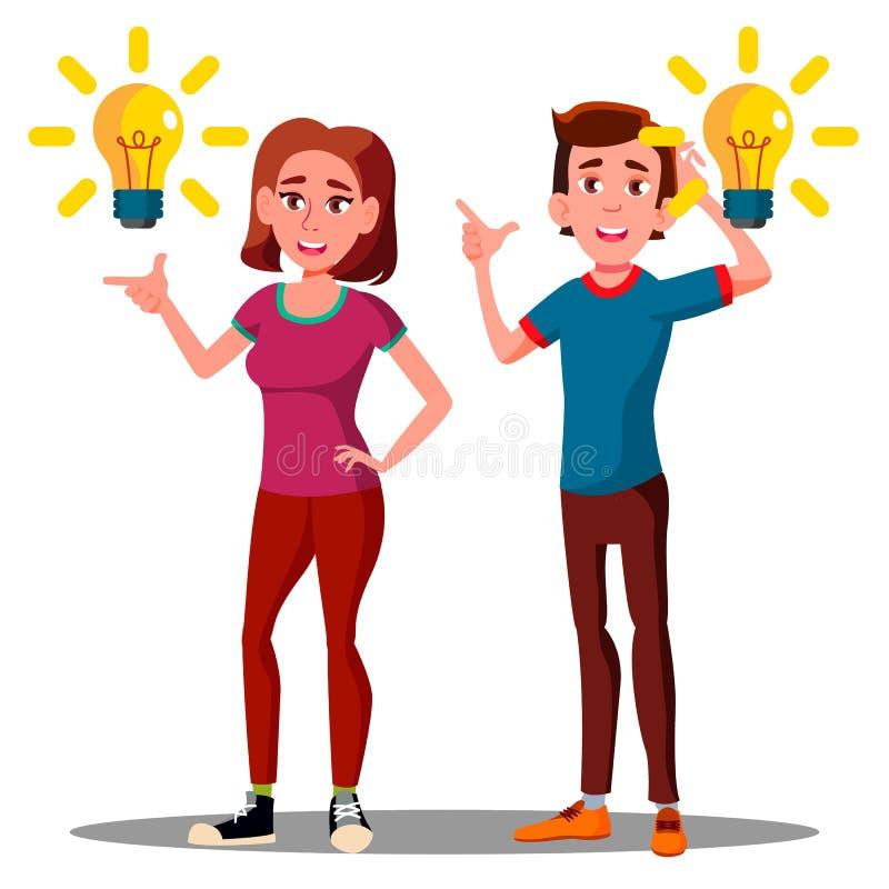 Nueva idea, individuo feliz del adolescente, muchacha con vector de arriba del bulbo Ilustración aislada stock de ilustración