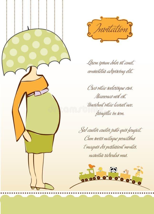Nueva invitación de la ducha de bebé con el expectante embarazado ilustración del vector