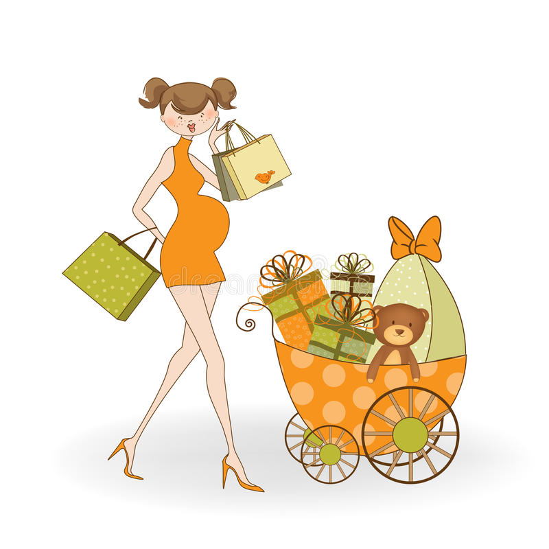 Nueva invitación de la ducha de bebé con el expectante embarazado libre illustration