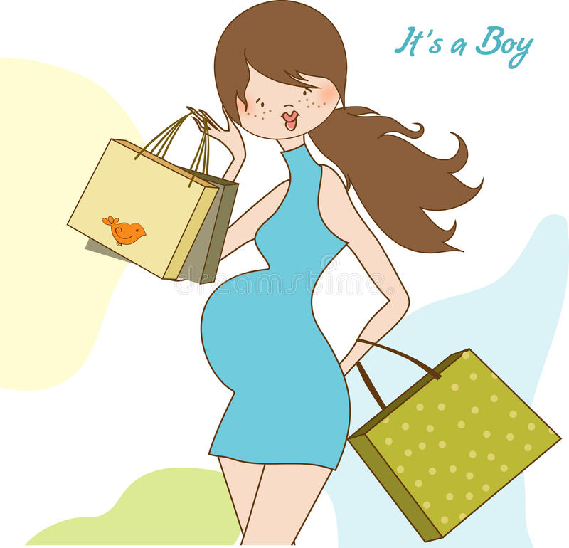 Nueva invitación de la ducha de bebé con el expectante embarazado stock de ilustración