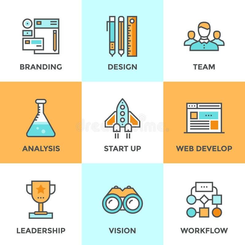 Nueva línea iconos del desarrollo de productos fijados stock de ilustración