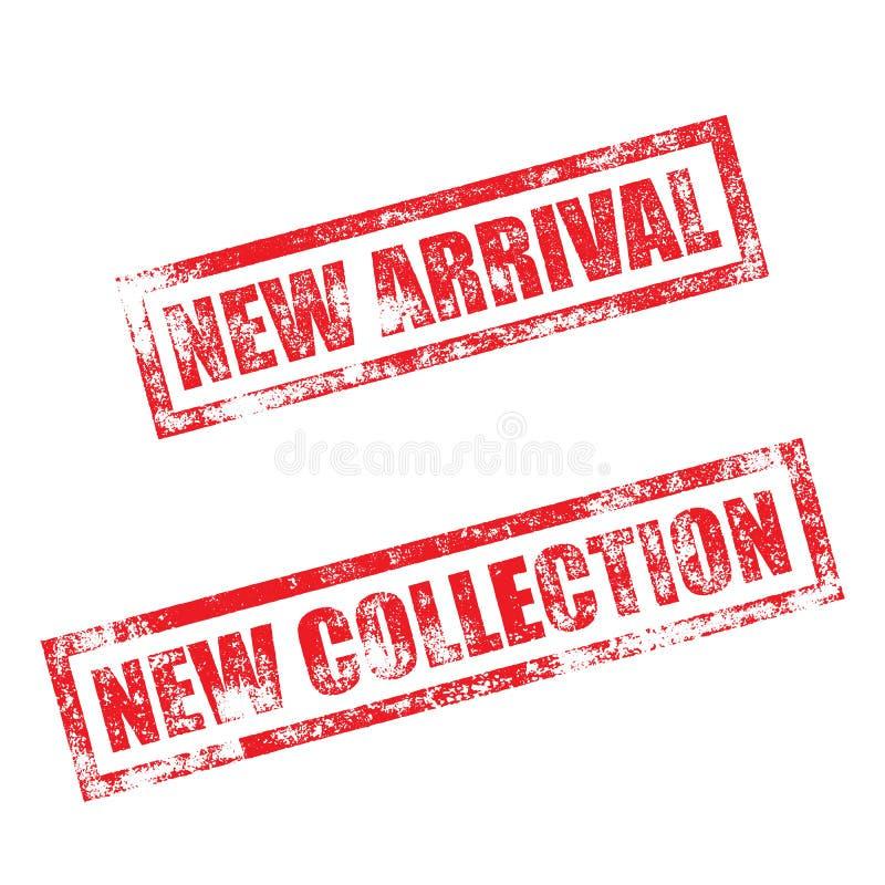 Nueva llegada, sello de la colección Impresión de goma de la tinta del vintage libre illustration