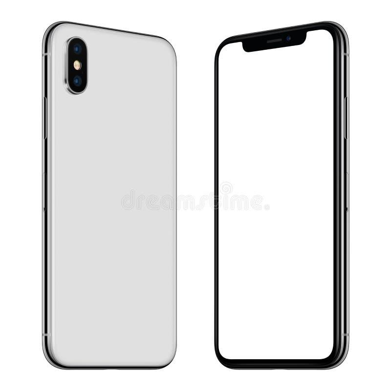Nueva maqueta blanca del smartphone delantera y lados traseros girados y que se hacen frente stock de ilustración