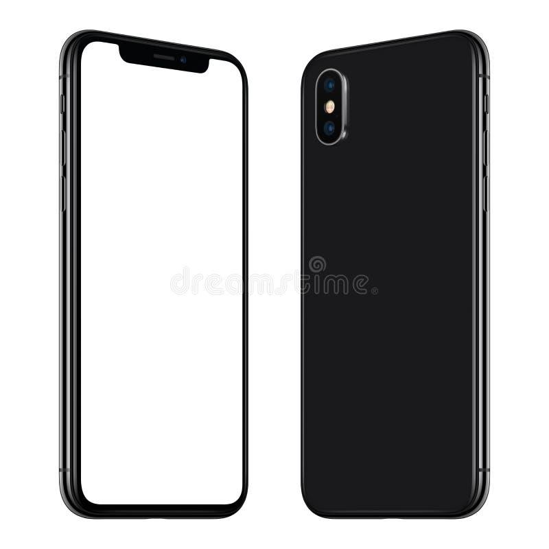 Nueva maqueta negra del smartphone delantera y lados traseros girados y que se hacen frente ilustración del vector
