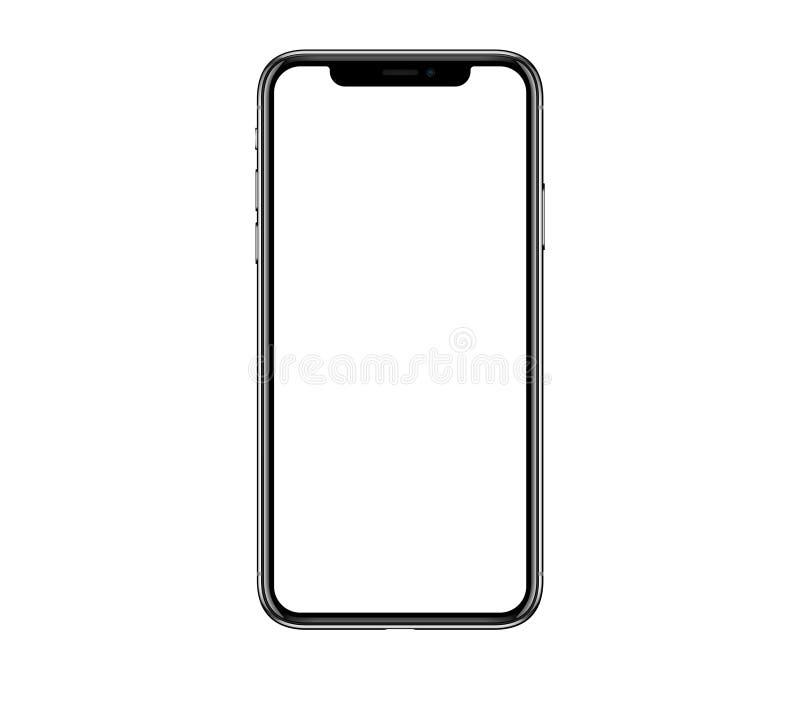 Nueva maqueta realista del smartphone del teléfono móvil con la pantalla en blanco i stock de ilustración