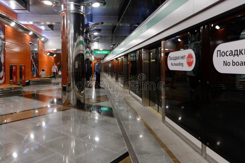 Nueva metro-estación Begovaya en St Petersburg, Rusia imagenes de archivo