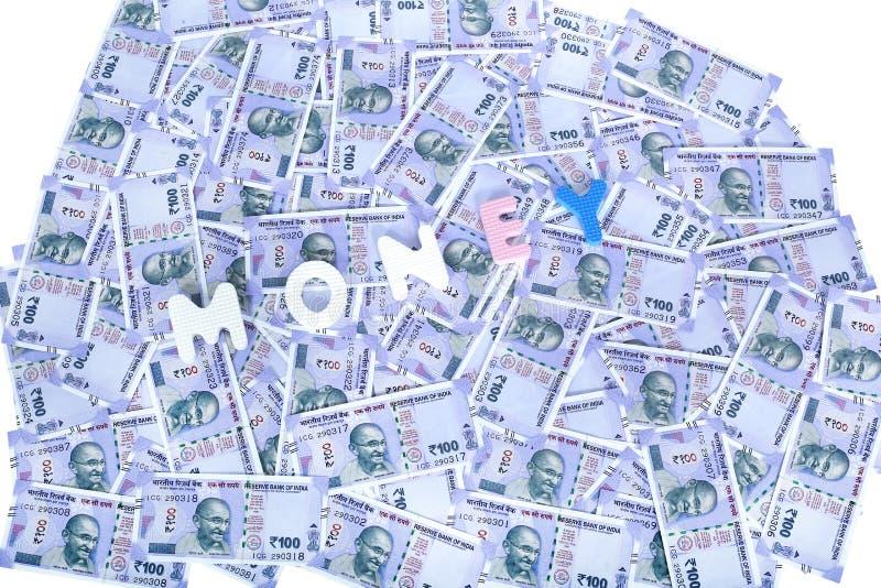 Nueva moneda de la rupia india 100 imágenes de archivo libres de regalías