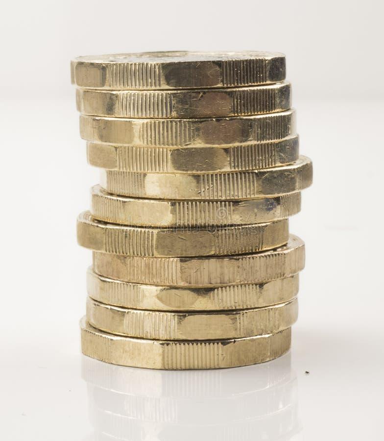 Nueva moneda de libra - pila imagen de archivo libre de regalías