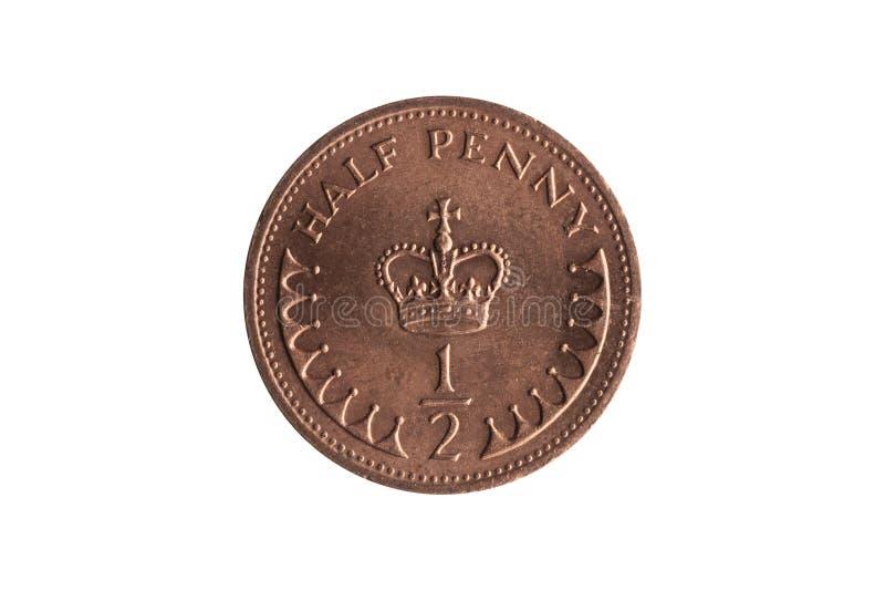 Nueva moneda del medio penique de la corona reversa BRITÁNICA del ` s de Inglaterra St Edward imagen de archivo libre de regalías