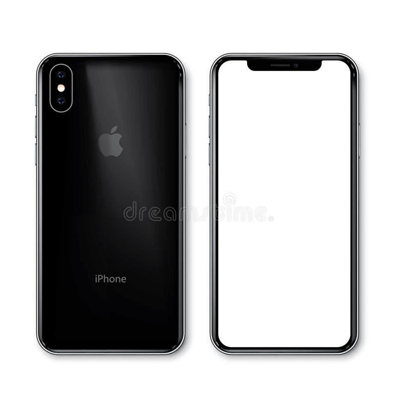 Nueva opinión del negro de Xs del iPhone en ángulo stock de ilustración