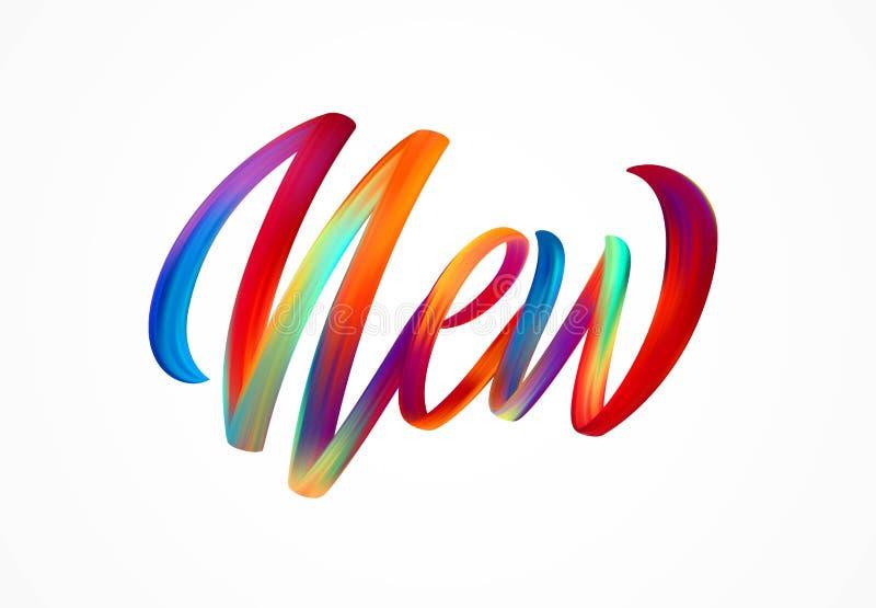 NUEVA palabra-muestra, letras coloridas modernas del flujo Ilustración del vector stock de ilustración