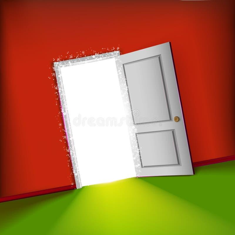 Nueva puerta abierta con concepto ligero libre illustration