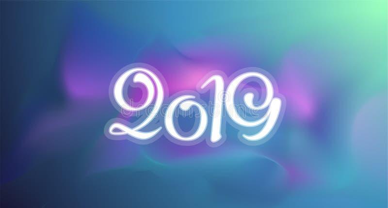 Nueva tarjeta de felicitación de 2019 años Fondo colorido de la plantilla del vector imagen de archivo
