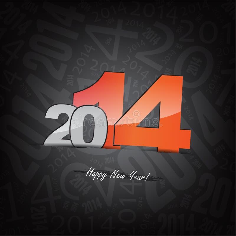 Nueva tarjeta de felicitación de 2014 años stock de ilustración