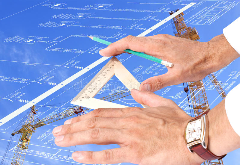Nueva tecnología de energía en la construcción imagen de archivo