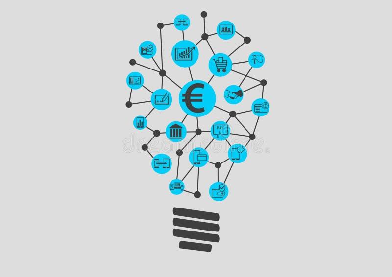 Nueva tecnología digital dentro del negocio de los servicios financieros El encontrar creativo de la idea stock de ilustración