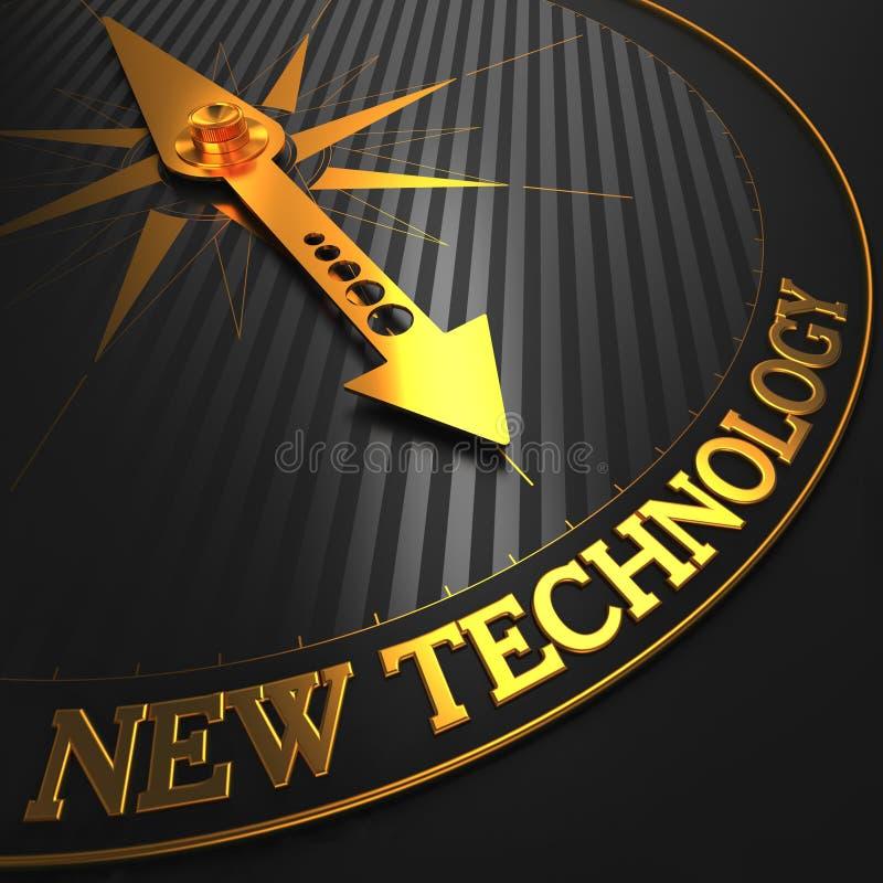 Nueva tecnología en el compás de oro. ilustración del vector