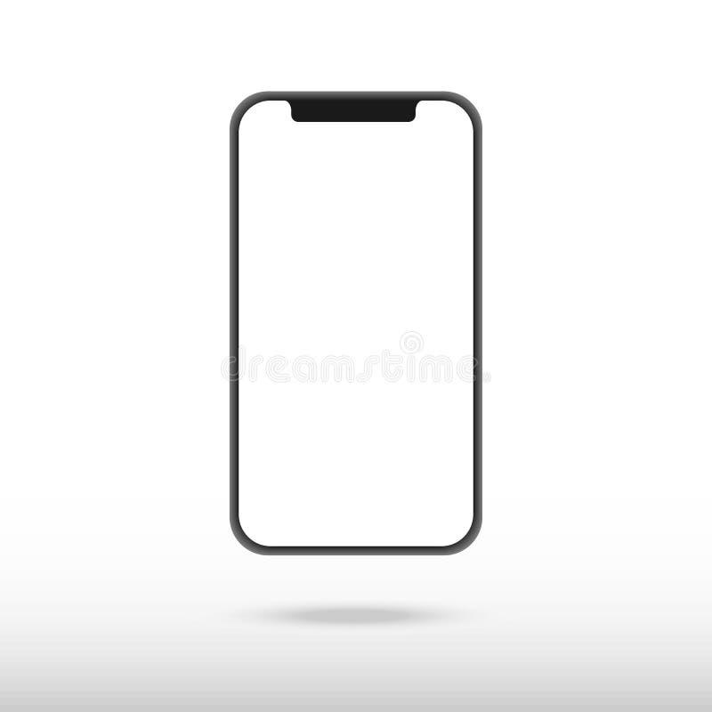 Nueva versión del smartphone delgado negro con la pantalla blanca en blanco Ilustración realista del vector libre illustration