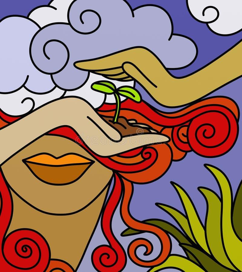 Nueva vida en la mano stock de ilustración