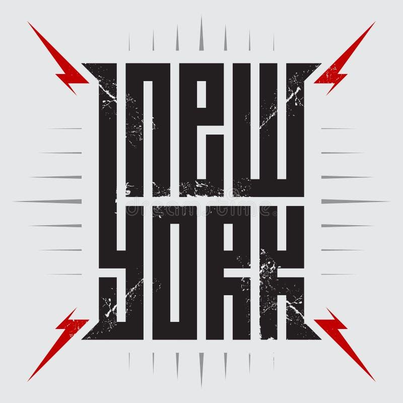 Nueva York - cartel con los relámpagos rojos Vintag de las ropas de la camiseta stock de ilustración