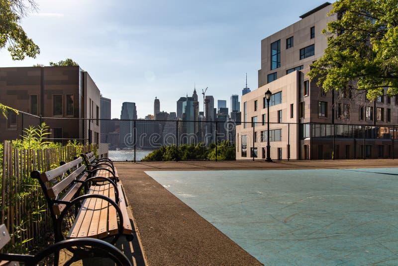 Nueva York, ciudad/los E.E.U.U. - 10 de julio de 2018: Opinión del horizonte del Lower Manhattan foto de archivo libre de regalías
