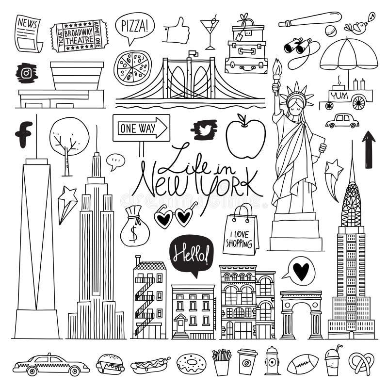 Nueva York Conjunto drenado mano del vector libre illustration