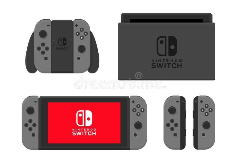 Nueva York - 13 de enero: Ejemplo del interruptor de Nintendo Vector aislado consola del videojuego libre illustration