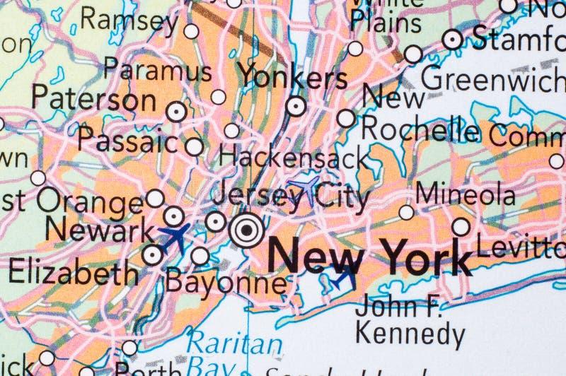 NUEVA YORK, en el mapa imágenes de archivo libres de regalías