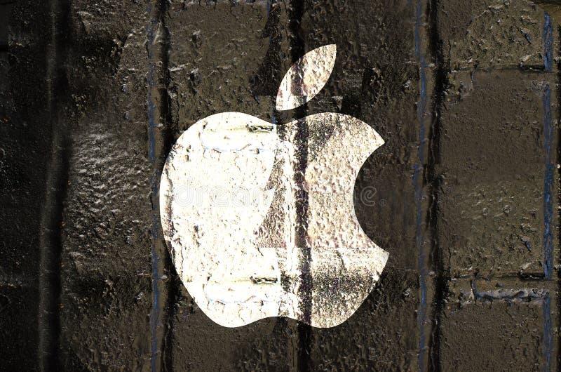 Nueva York, Estados Unidos - 21 de septiembre de 2016: Logotipo de Apple dibujado foto de archivo