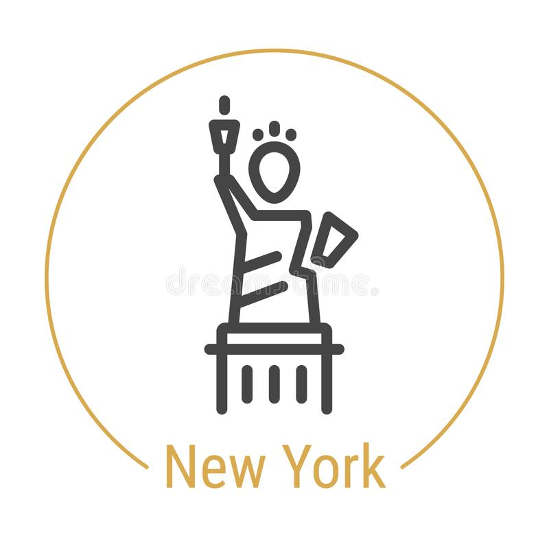 Nueva York, Estados Unidos Vector la línea icono stock de ilustración