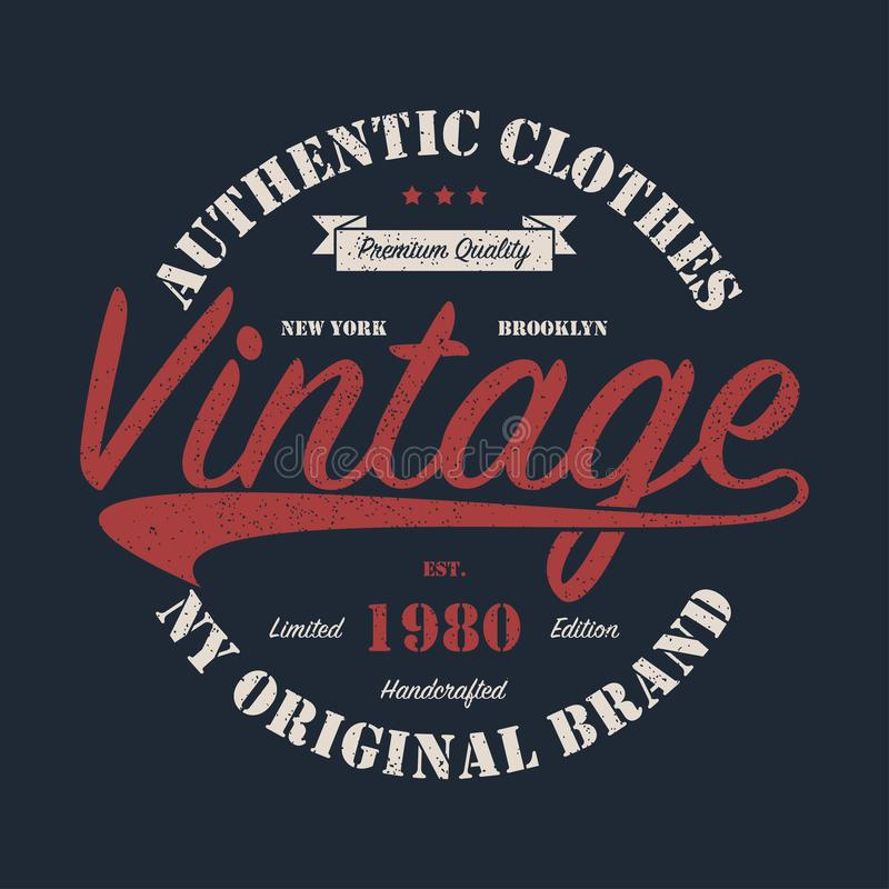 Nueva York, NY, gráfico original de la marca del vintage de Brooklyn para la camiseta Diseño para la ropa handcrafted con grunge  libre illustration