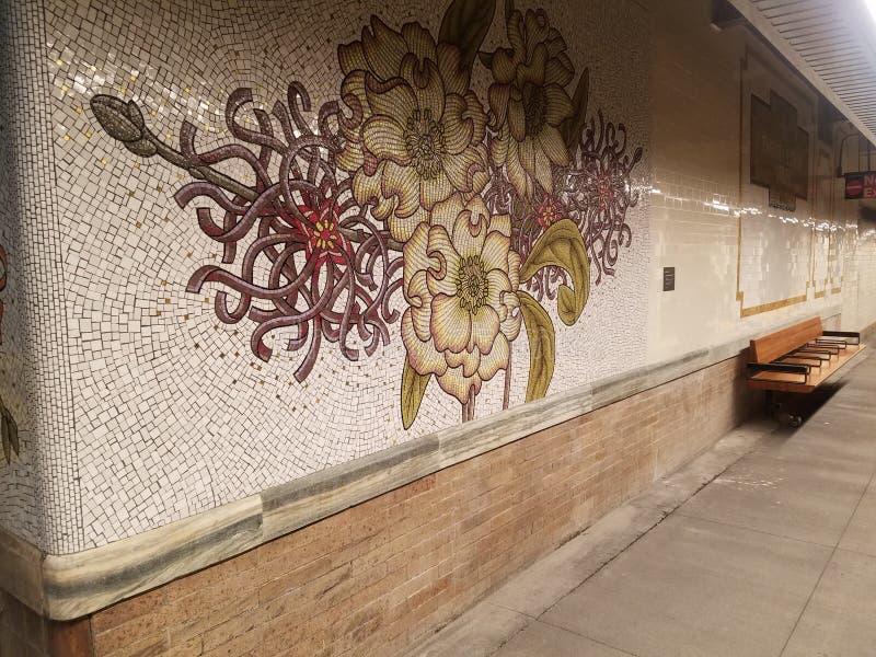 Nueva York, NY los E.E.U.U., el 16 de enero de 2019: abrió de nuevo nuevamente la estación de metro, estación de la calle del MTA fotos de archivo libres de regalías