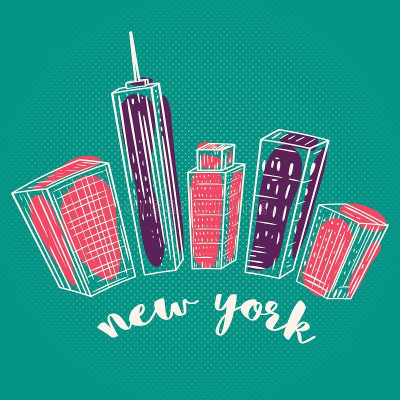 Nueva York Paisaje dibujado mano colorida de la ciudad del vintage stock de ilustración